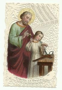 Un San Giuseppe già anziano insegna a Gesù a lavorare il legno. Siderografia su canivet meccanico. Parigi, Bouasse-Lebel, seconda metà del XIX sec.