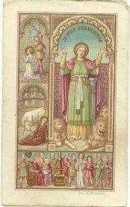 Santa Blandina in una cromolitografia belga di fine Ottocento