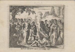 Gesù scaccia il demonio dal corpo di un posseduto. Incisione su pergamena. Anversa, XVII sec. Coll. Scioli