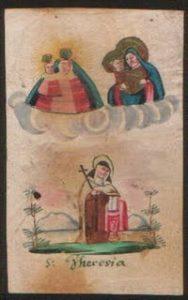 La Santa in una miniatura su pergamena del XVIII secolo.