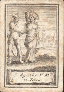 S. Agata in un'incisione su carta. Coll. priv. G. Lo Cicero