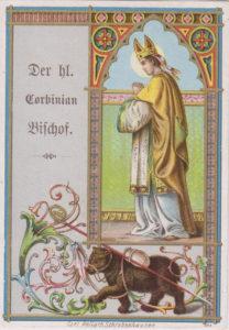 Una cromolitografia di fine XIX secolo raffigurante San Corbiniano Vescovo
