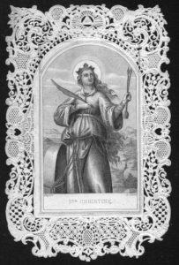 Santa Cristina in una siderografia con cornice traforata a punzone. Coll. priv. G. Lo Cicero