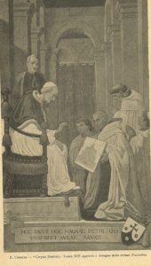 Nel dipinto, Padre Beccaro mostra il progetto della chiesa a Leone XIII