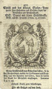 Il martirio di San Daniele Fasanella e di un compagno a Ceuta, in una incisione secentesca. Produzione tedesca.