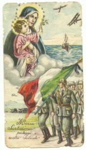 Un classico santino militare degli anni 30 che fu utilizzato anche nel periodo successivo