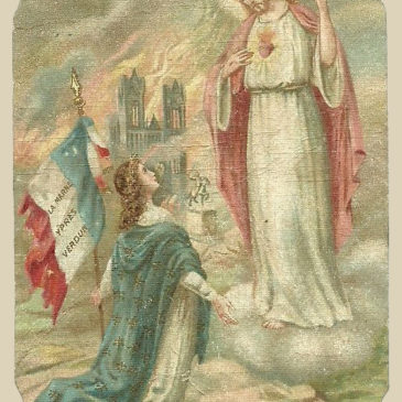 L'incendio della cattedrale di Reims in un santino militare francese